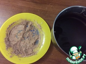 Cocoa mix with sah. powder. Chocolate, remove from refrigerator