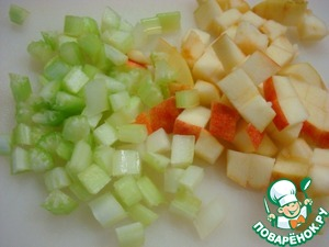 Apples and celery cut into small cubes.