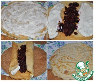 Damn lubricated with a thin layer of ricotta, cover with the second pancake. On pancakes put the ricotta with two storon, in the centre lay the prepared currants (currants mixed with sugar). Then both edges with cheese, wrap to the center and turn the pancake roll. Wrap another pancake.