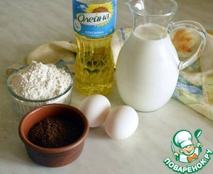 Prepare the pancakes: combine all ingredients except cocoa powder, and beat into a soft mousse to leave lumps.