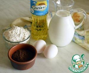Приготовим блины: соединим все ингредиенты, кроме какао-порошка, и хорошо взобьем, чтобы не оставалось комочков.