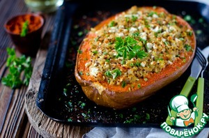 Received filling naciste pumpkin, sprinkle the remaining cheese.  Bake at the same temperature for 30 minutes or until Golden brown.  Bon appetit!