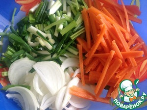 Carrots cut into sticks, onion rings, floor, green onion cut into feathers roughly 5 cm
