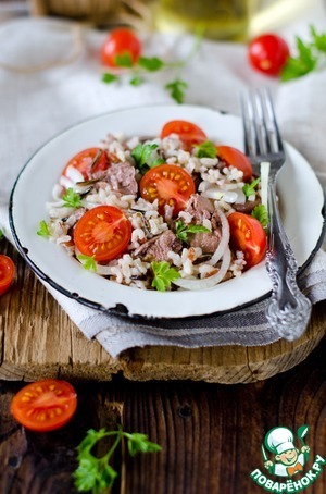 Рецепт Салат с рисом и печенью трески