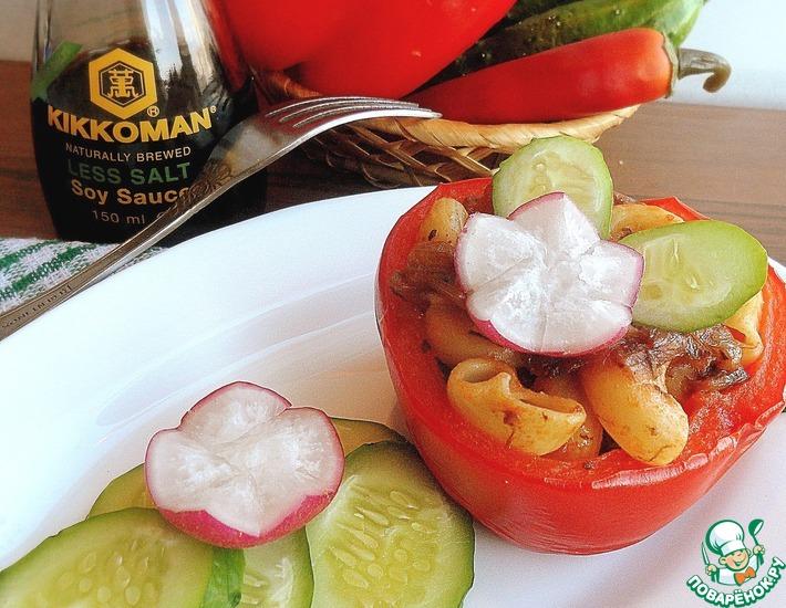 Рецепт: Перцы, фаршированные макаронно-грибной начинкой