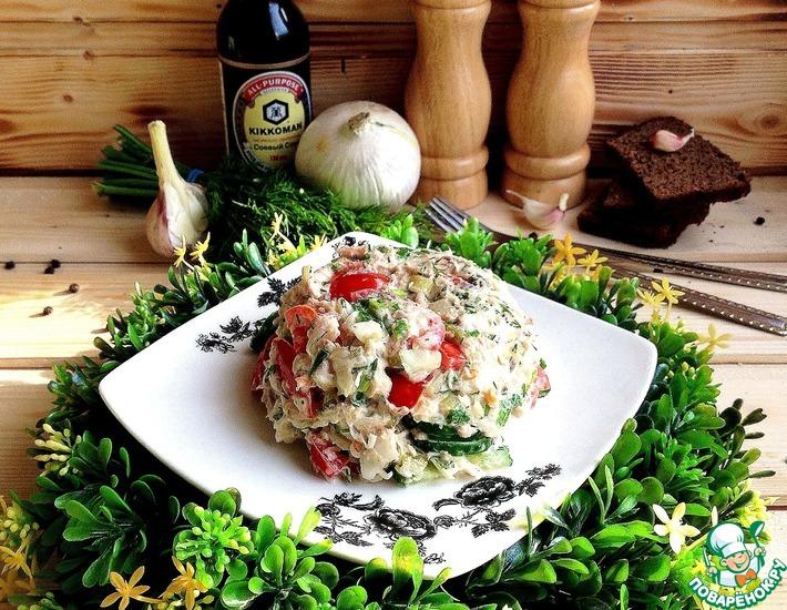 Рецепт: Салат с овощами и консервированной рыбой