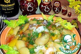 Рецепт: Белая фасоль с овощами и морепродуктами
