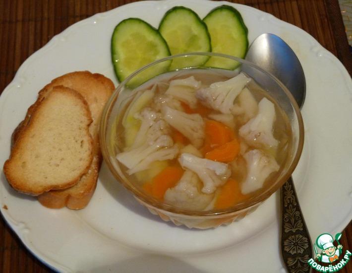 Рецепт: Постный суп с цветной капустой