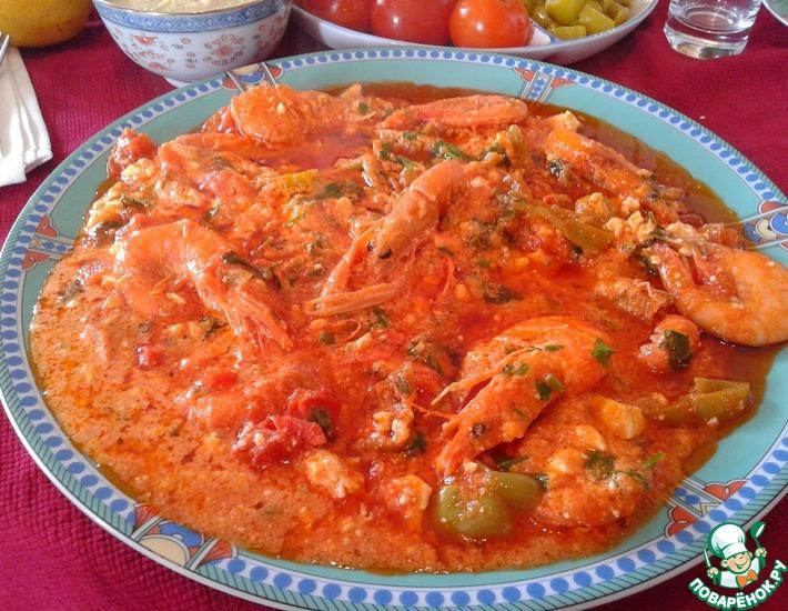Рецепт: Креветки Саганаки
