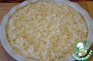 Put the dough into the prepared pan and sprinkle chopped almonds.  Bake 45-55 minutes until dry toothpick.