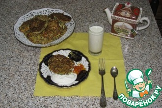 Рецепт: Оладьи из сельдерея, кабачков, феты и чечевицы