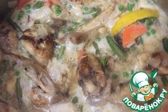 Рецепт: Куриные крылья в сливочно-овощной подливе