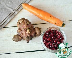 Морковь и топинамбур моем с помощью щеточки и чистим.