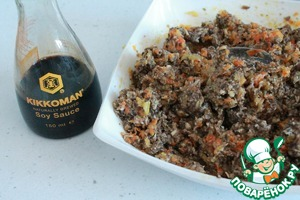 Use for filling our mushroom caviar soy sauce, Kikkoman. Mushrooms and soy sauce are perfectly blended.