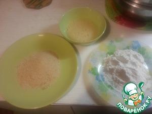 Готовим в отдельных тарелочках - муку, сухари панировочные и лизун.   Лизун - взбить 2 яйца с водой, солью и перцем   Да, у меня Лизун