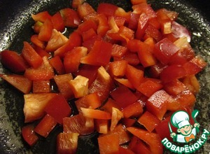 In another pan sauté bell pepper, diced, 7 minutes.