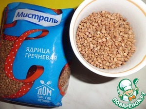 """We take the buckwheat """"Mistral"""". Rinse, fill with water 2:1 and put on to cook."""
