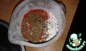 In flour, add paprika and Basil and sift