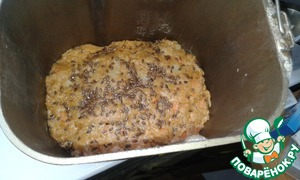 """Sprinkle with flax seeds. Bake for about 40 minutes at 175 degrees. I was cooking in the bread machine in the mode """"Baking"""""""
