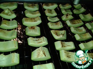 Все овощи нарезать на крупные брусочки, шампиньоны на четвертинки. Выложить на противень и запечь в духовке при температуре 180 С. Запекать можно по очереди.