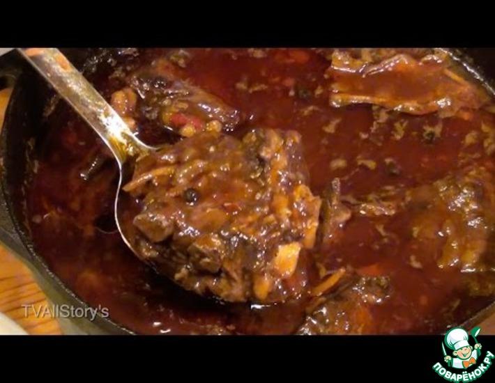 Рецепт: Свиные ребрышки в гранатовом соке