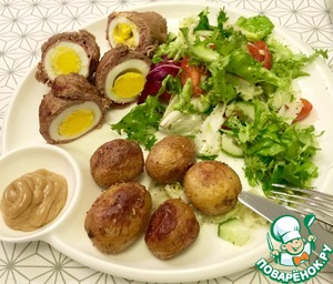 I served with salad and roasted new potatoes with rosemary.