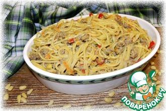 Рецепт: Спагетти по-флотски с кедровыми орешками