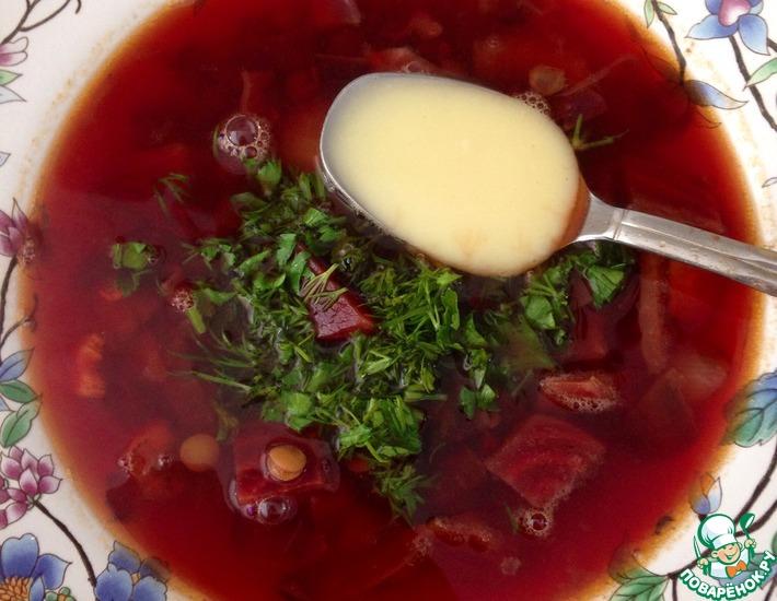 Рецепт: Красный-прекрасный суп с чечевицей