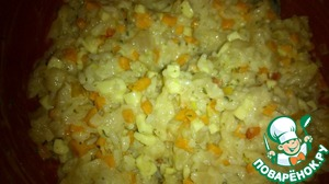 "Mix in large bowl meat Breasts, cooked rice, cheese, sauteed onions and carrots, mix everything. Add the remaining ingredients and again mix thoroughly. Here is the motley ""dough"" I did."