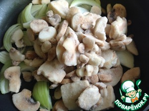 Add mushrooms (pre-no need to defrost) and fry on high heat until evaporation of liquid