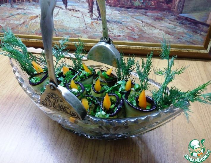 Рецепт: Рулетики из баклажанов с зеленью