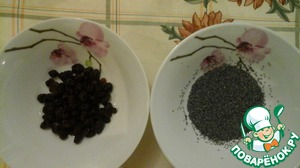 Soak with boiling water poppy seeds and raisins