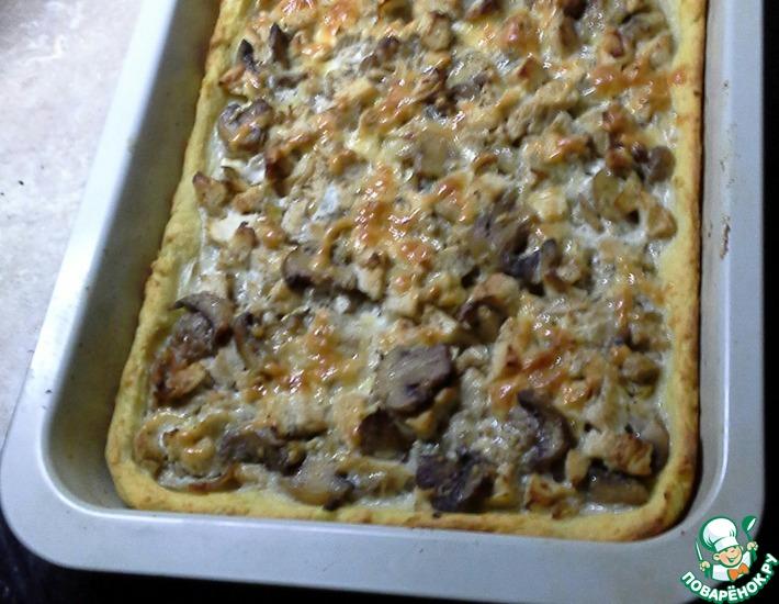 Рецепт: Картофельный пирог с курицей и шампиньонами