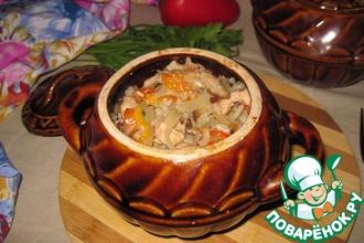 Рецепт: Горшочки с индейкой, овощами и грибами
