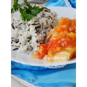 Рис, рыба и соус