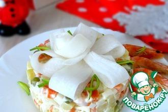 Рецепт: Салат Оливье с креветками и дайконом