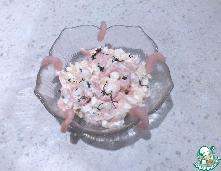 Рецепт: Простой салат с креветками