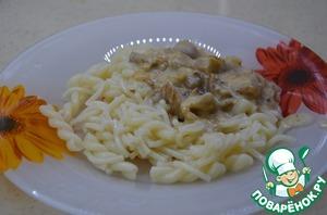 Рецепт Макароны с сырно-грибным соусом