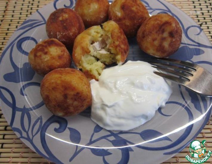 Рецепт: Картофельные пончики с сюрпризом