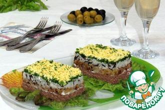 Рецепт: Салат с рисом и куриной печенью