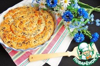 Рецепт: Пирог с рисом, луком-пореем и пармезаном