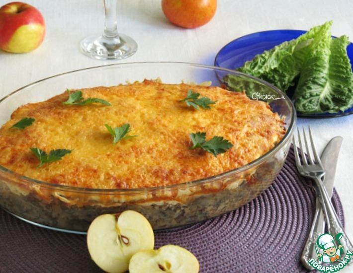 Рецепт: Рис с куриной печенью и яблоками