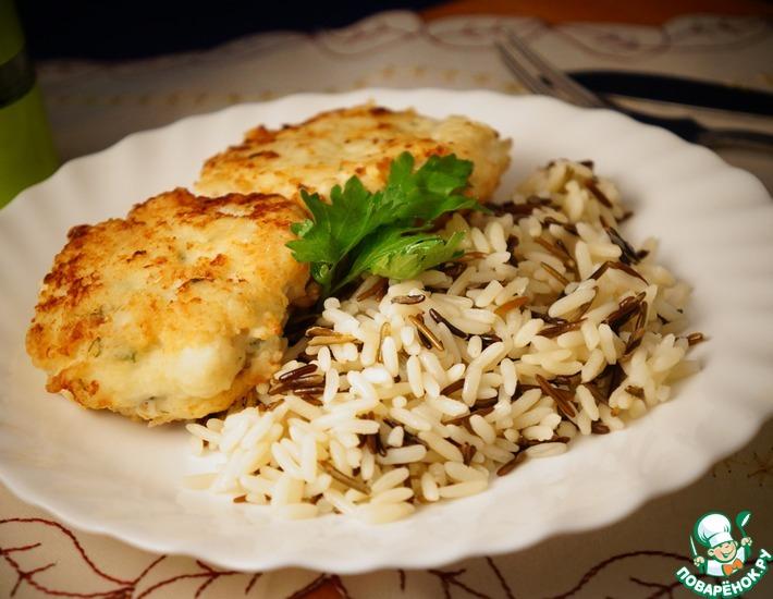 Рецепт: Котлеты из трески со сливочным рисом