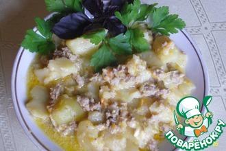 Рецепт: Картофель с фаршем и плавленым сырком