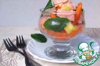 Рецепт: Салат-коктейль из лосося и шпината