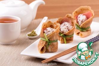Рецепт: Темари-суши в яичном блине