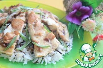 Рецепт: Японский омлет с рисом и курицей Оякодон