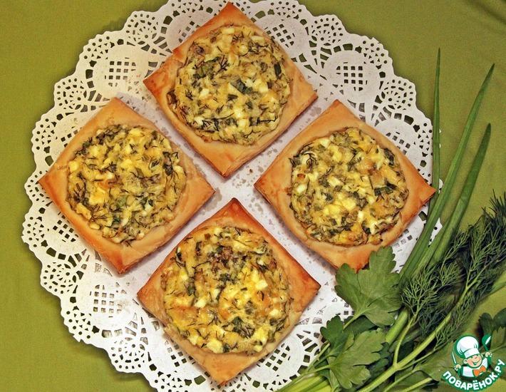 Рецепт: Ленивые пирожки со свежей зеленью