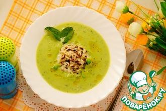 Рецепт: Суп из горошка с рисом и мятой