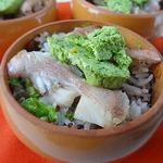 Запеченный морской окунь с рисом и киноа